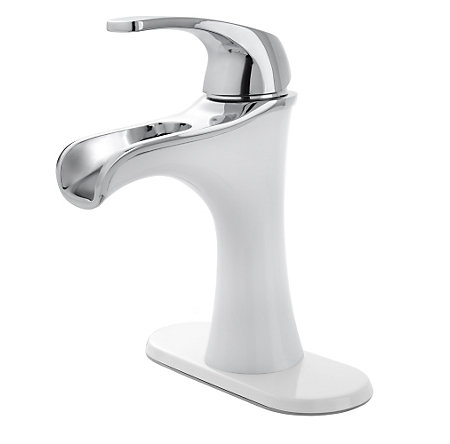 Polished Chrome / White Jaida Single Control, Centerset Bath Faucet - LF-042-JDCW - 2