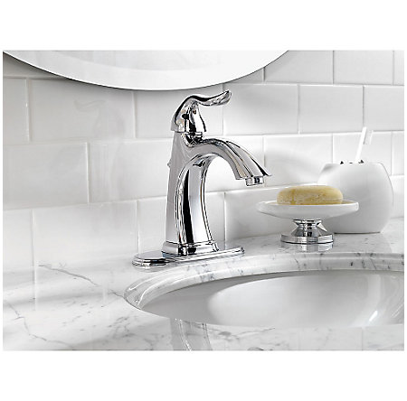 polished chrome santiago single control, centerset bath faucet - f-042-st0c - 4