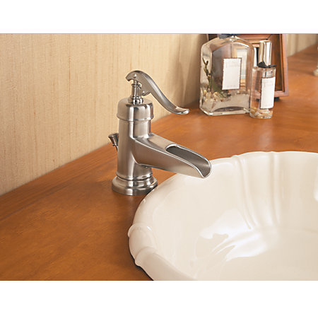 Brushed Nickel Ashfield Single Control, Centerset Bath Faucet - LF-M42-YPKK - 5