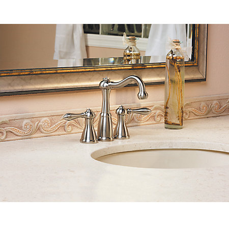 Brushed Nickel Marielle Mini-Widespread Bath Faucet - F-046-M0BK - 4