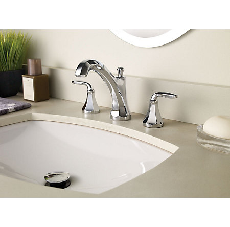 Polished Chrome Designer Widespread Bath Faucet - F-049-DECC - 2