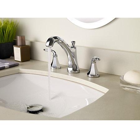 Polished Chrome Designer Widespread Bath Faucet - F-049-DECC - 3