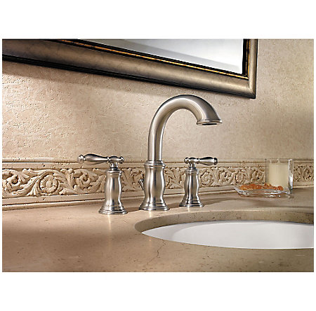 Brushed Nickel Hanover Widespread Bath Faucet - F-049-TMKK - 2