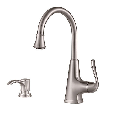 Stainless Steel Pasadena 1 Handle Bar and Prep Faucet With Soap Dispenser - F-072-PDSS - 1