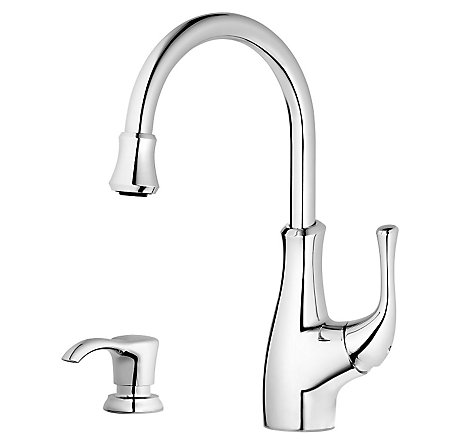 Polished Chrome Vosa 1-Handle Pull Down Bar and Prep Faucet With Soap Dispenser - F-072-VVCC - 1