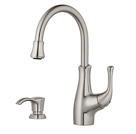 Stainless Steel Vosa 1-Handle Pull Down Bar and Prep Faucet With Soap Dispenser - F-072-VVSS - 1