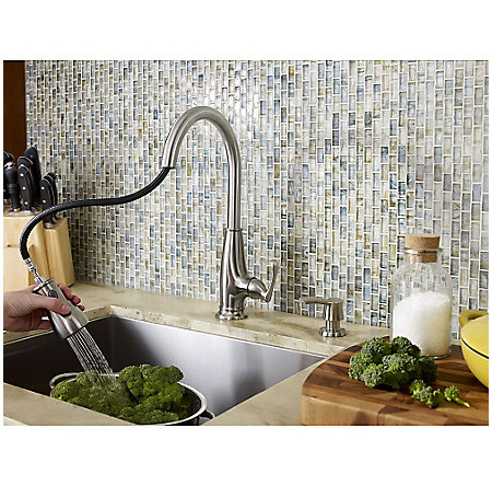 Stainless Steel Ainsley 1-Handle, Pull-Down Kitchen Faucet - LF-529-7AYS - 6