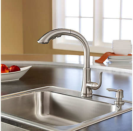 stainless steel avalon 1-handle, pull-out kitchen faucet - f-529-7cbs - 3