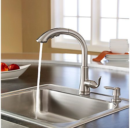 stainless steel avalon 1-handle, pull-out kitchen faucet - f-529-7cbs - 4