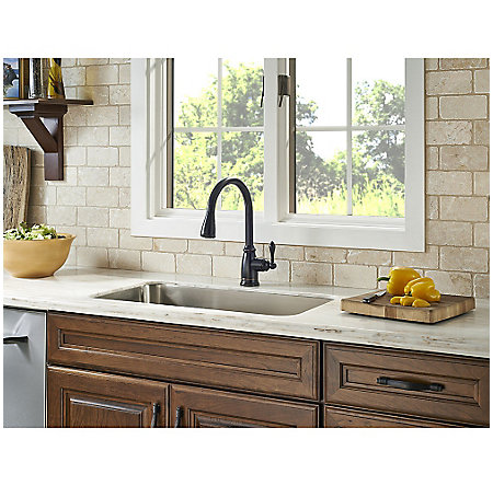 Tuscan Bronze Canton Pull-Down Kitchen Faucet - F-529-7CNY - 3