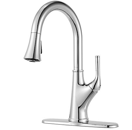 Polished Chrome Cantara 1-Handle Pull-Down Kitchen Faucet - F-529-7CRC - 2