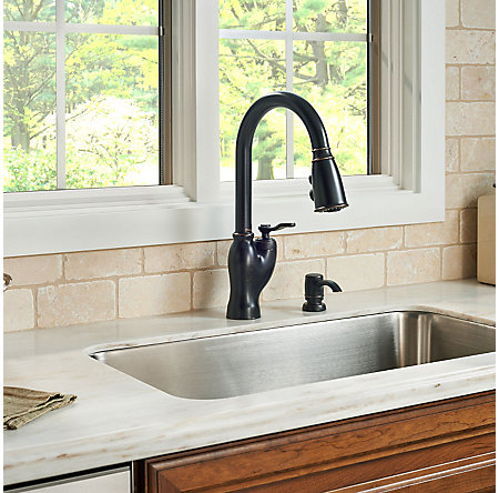 tuscan bronze glenfield pull-down kitchen faucet - f-529-7gfy - 3