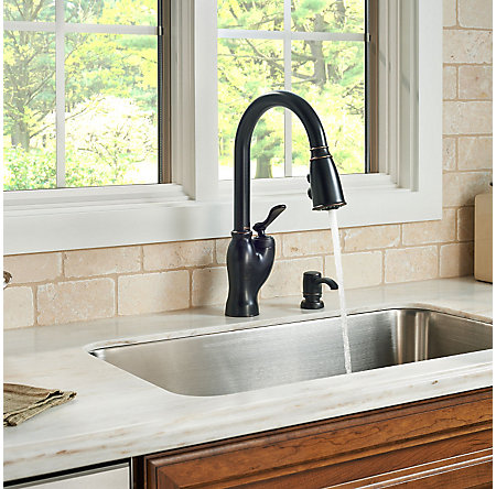 tuscan bronze glenfield pull-down kitchen faucet - f-529-7gfy - 4