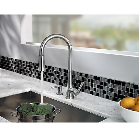 Stainless Steel Mystique 1-Handle, Pull-Down Kitchen Faucet - F-529-7MDS - 7