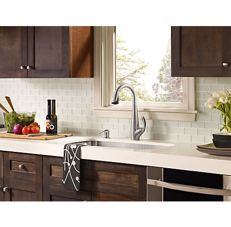 Stainless Steel / Black Nia 1-Handle, Pull-Down Kitchen Faucet - F-529-7NAS - 4
