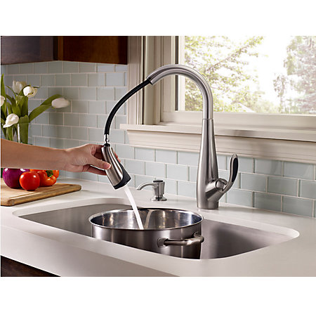 Stainless Steel / Black Nia 1-Handle, Pull-Down Kitchen Faucet - F-529-7NAS - 5