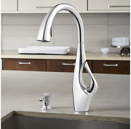 Polished Chrome Indira 1-Handle, Pull-Down Kitchen Faucet - F-529-7NDC - 4