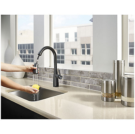 Black Raya 1-Handle Pull-Down Kitchen Faucet with Soap Dispenser - F-529-7RYB - 5