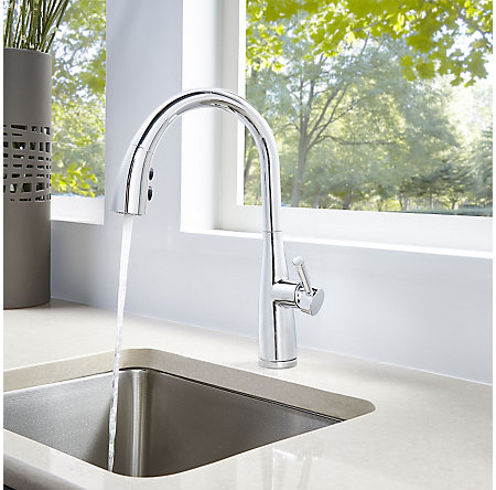 Polished Chrome Raya 1-Handle Pull-Down Kitchen Faucet with Soap Dispenser - F-529-7RYC - 4