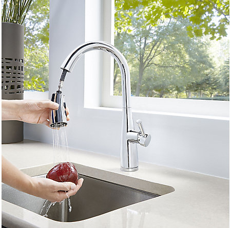 Polished Chrome Raya 1-Handle Pull-Down Kitchen Faucet with Soap Dispenser - F-529-7RYC - 5