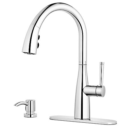 Polished Chrome Raya 1-Handle Pull-Down Kitchen Faucet with Soap Dispenser - F-529-7RYC - 2