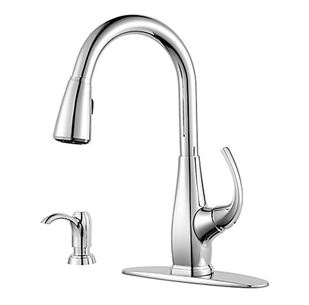 Polished Chrome Selia 1-Handle, Pull-Down Kitchen Faucet - F-529-7SLC - 2