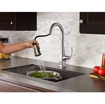 Stainless Steel Selia 1-Handle, Pull-Down Kitchen Faucet - F-529-7SLS - 7