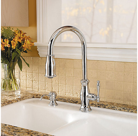 Polished Chrome Hanover 1, 2, 3 or 4-Hole Pull-down Kitchen Faucet - F-529-7TMC - 4