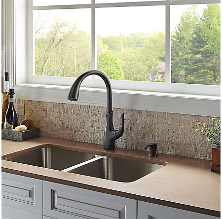 Tuscan Bronze Vosa 1-Handle Pull-Down Kitchen Faucet with Soap Dispenser - F-529-7VVY - 3