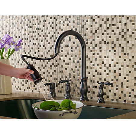 tuscan bronze hanover 2-handle, pull-down kitchen faucet - f-531-4hny - 6