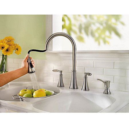 Stainless Steel Petaluma 2-Handle, Pull-Down Kitchen Faucet - F-531-4PAS - 2