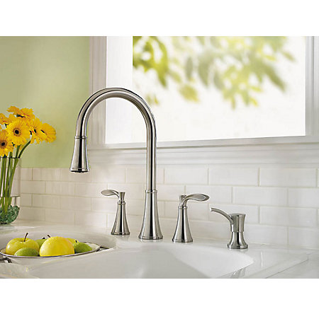 Stainless Steel Petaluma 2-Handle, Pull-Down Kitchen Faucet - F-531-4PAS - 3