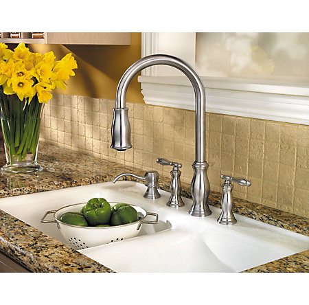 Stainless Steel Hanover 2-Handle, Pull-Down Kitchen Faucet - F-531-4TMS - 2