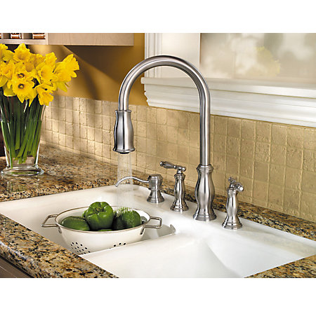 Stainless Steel Hanover 2-Handle, Pull-Down Kitchen Faucet - F-531-4TMS - 5