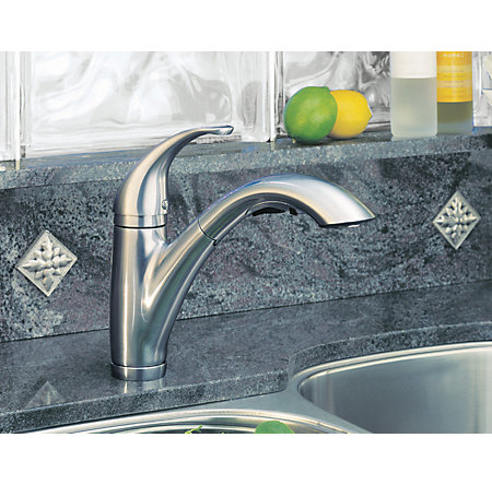 Stainless Steel Parisa 1-Handle, Pull-Out Kitchen Faucet - F-534-70SS - 5