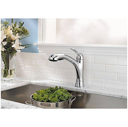 Polished Chrome Clairmont 1-Handle, Pull-Out Kitchen Faucet - LF-534-7CMC - 2