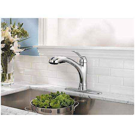 Polished Chrome Clairmont 1-Handle, Pull-Out Kitchen Faucet - LF-534-7CMC - 6