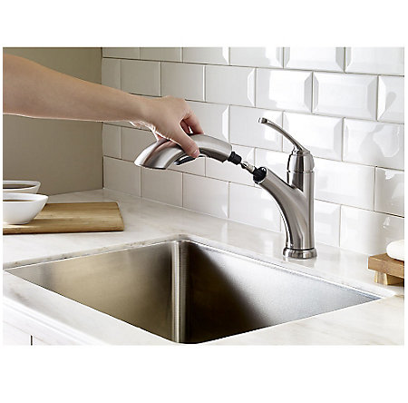 Stainless Steel Cantara 1-Handle, Pull-Out Kitchen Faucet - F-534-7CRS - 7