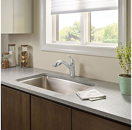Polished Chrome Corvo 1-Handle, Pull-Out Kitchen Faucet - F-534-7CVC - 3