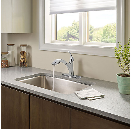 Polished Chrome Corvo 1-Handle, Pull-Out Kitchen Faucet - F-534-7CVC - 5