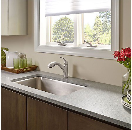 Stainless Steel Corvo 1-Handle, Pull-Out Kitchen Faucet - F-534-7CVS - 3