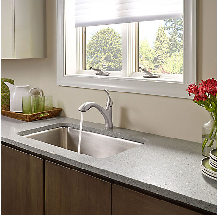 Stainless Steel Corvo 1-Handle, Pull-Out Kitchen Faucet - F-534-7CVS - 4