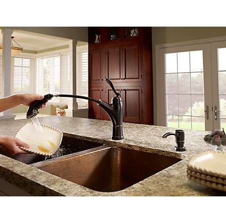 tuscan bronze glenfield 1-handle, pull-out kitchen faucet - f-534-pgfy - 5