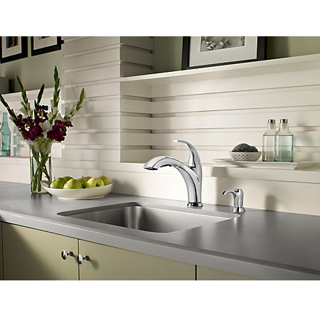 Polished Chrome Selia 1-Handle, Pull-Out Kitchen Faucet - F-534-PSLC - 3