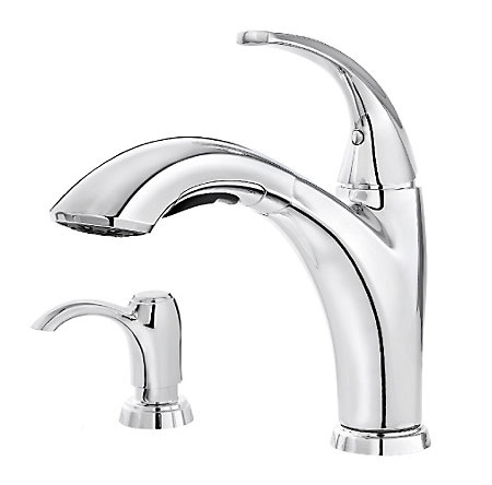 Polished Chrome Selia 1-Handle, Pull-Out Kitchen Faucet - F-534-PSLC - 1