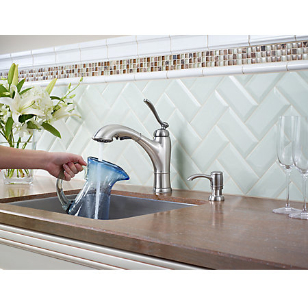 Stainless Steel Glenfield 1-Handle, Pull-Out Kitchen Faucet - F-534-PGFS - 6