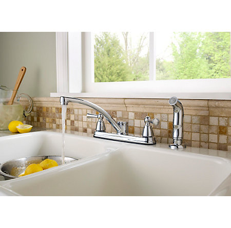 Polished Chrome Hollis 2-Handle Kitchen Faucet - F-WK2-240C - 2