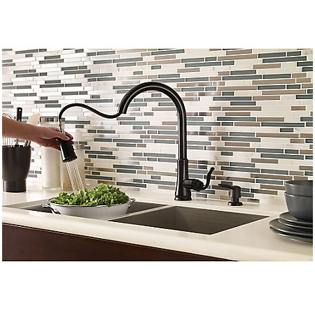 Black Cagney 1-Handle, Pull-Down Kitchen Faucet - F-WKP-400B - 5