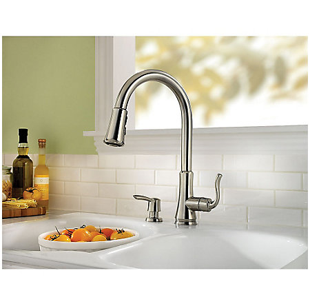 stainless steel cagney 1-handle, pull-down kitchen faucet - f-529-7cgs - 4