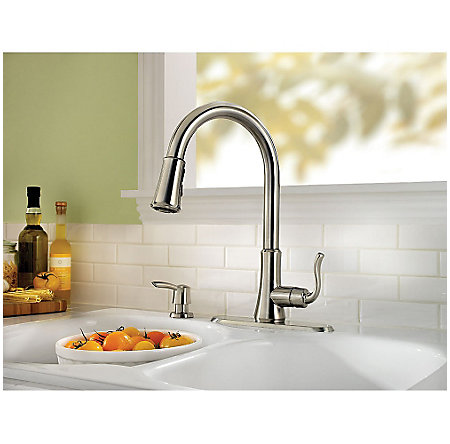 stainless steel cagney 1-handle, pull-down kitchen faucet - f-529-7cgs - 5